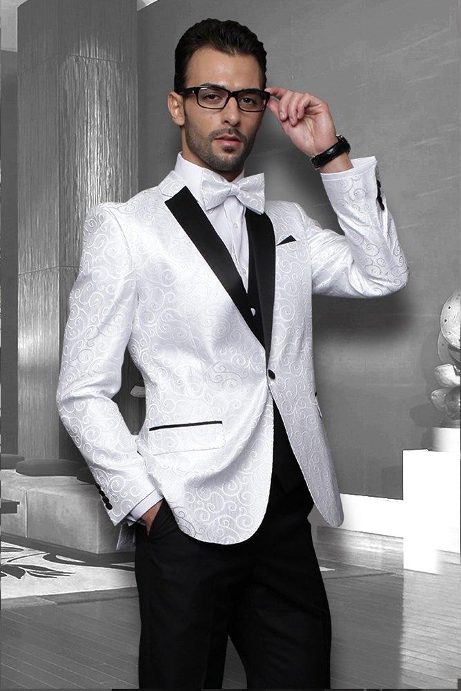 Black Suit White Shirt Silver Tie