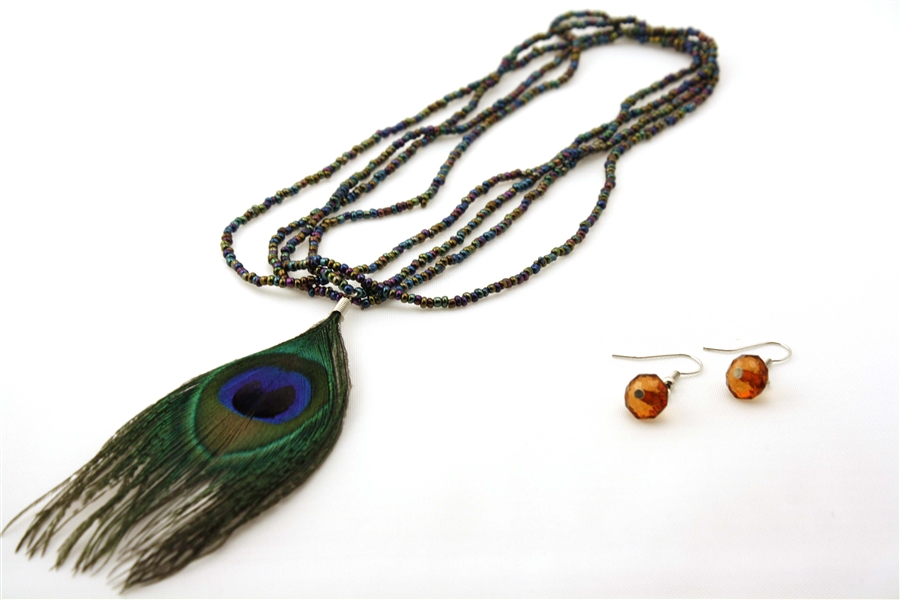 Necklace With Peacock Feather And Free Earrings