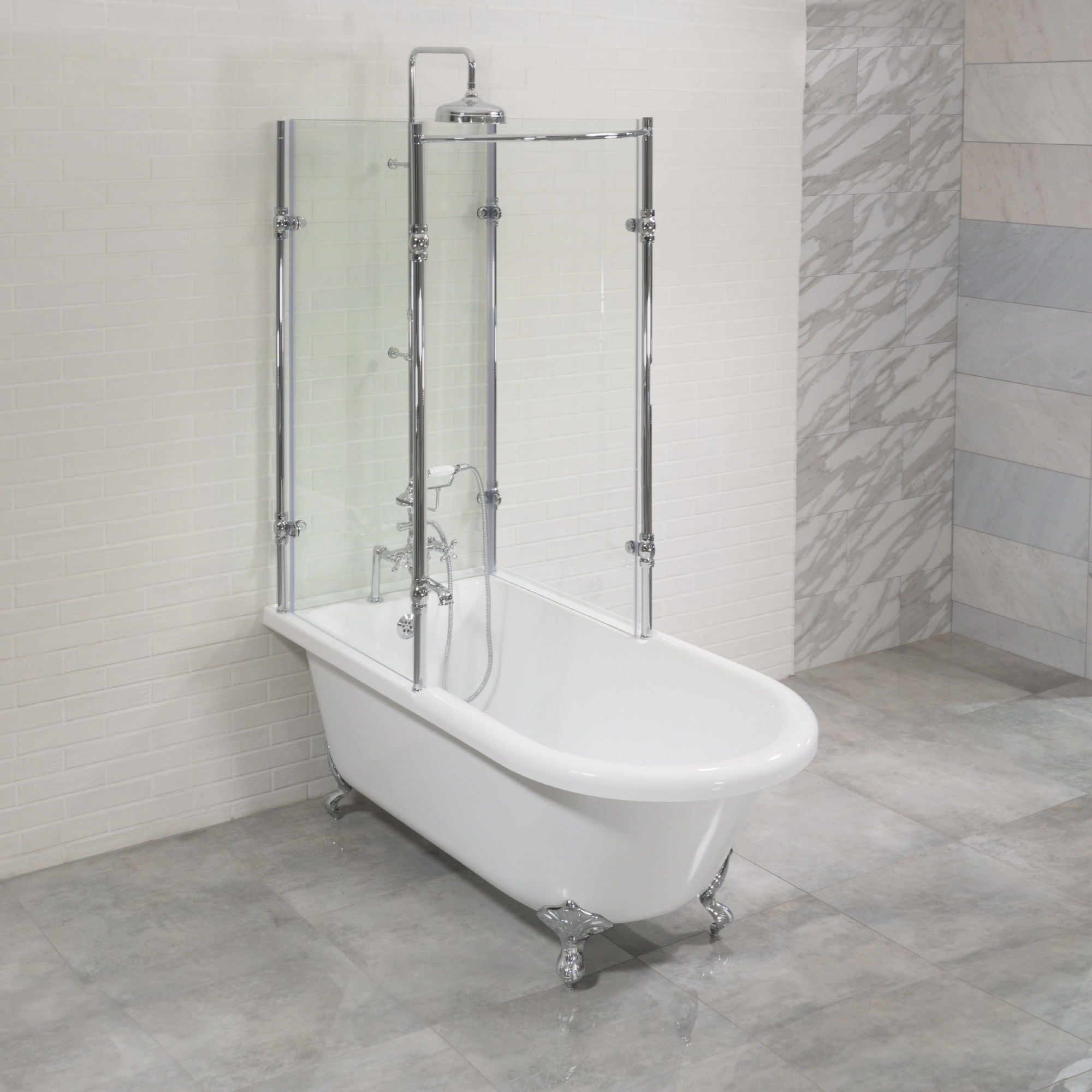 oasis 59 shpk 59 extra wide classic clawfoot shower tub with clear tempered glass shower enclosure package