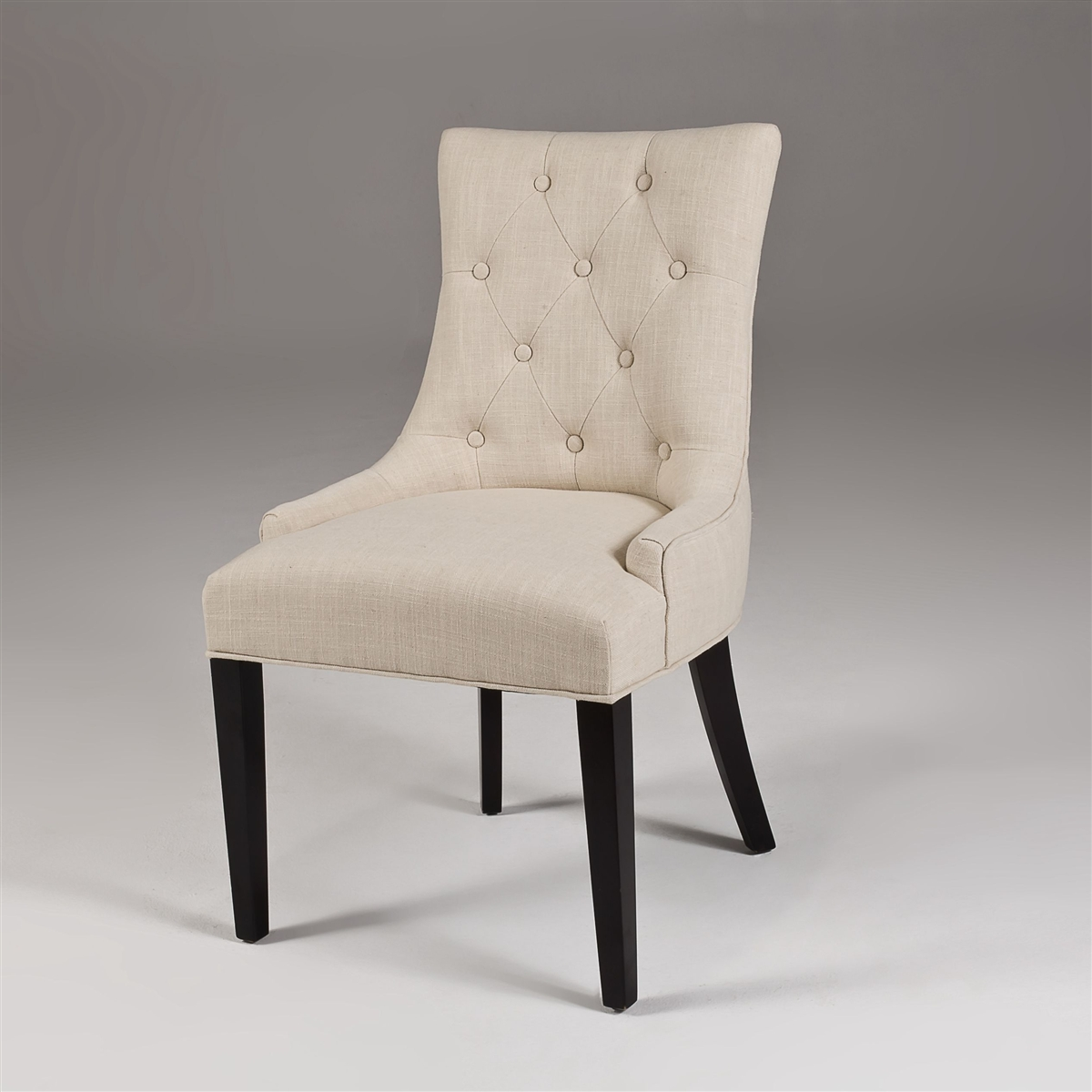 Seriena La Rochelle White Beige Linen Dining Chair With Tufted Back Barrel Curved Back Fully Assembled