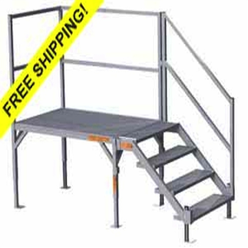 Fortress Osha Stair Systems Portable Aluminum Stairs For2334   Portable Steps With Handrail   3 Step   Free Standing   Camper   Stair   Safety Step Ladder 4 Step