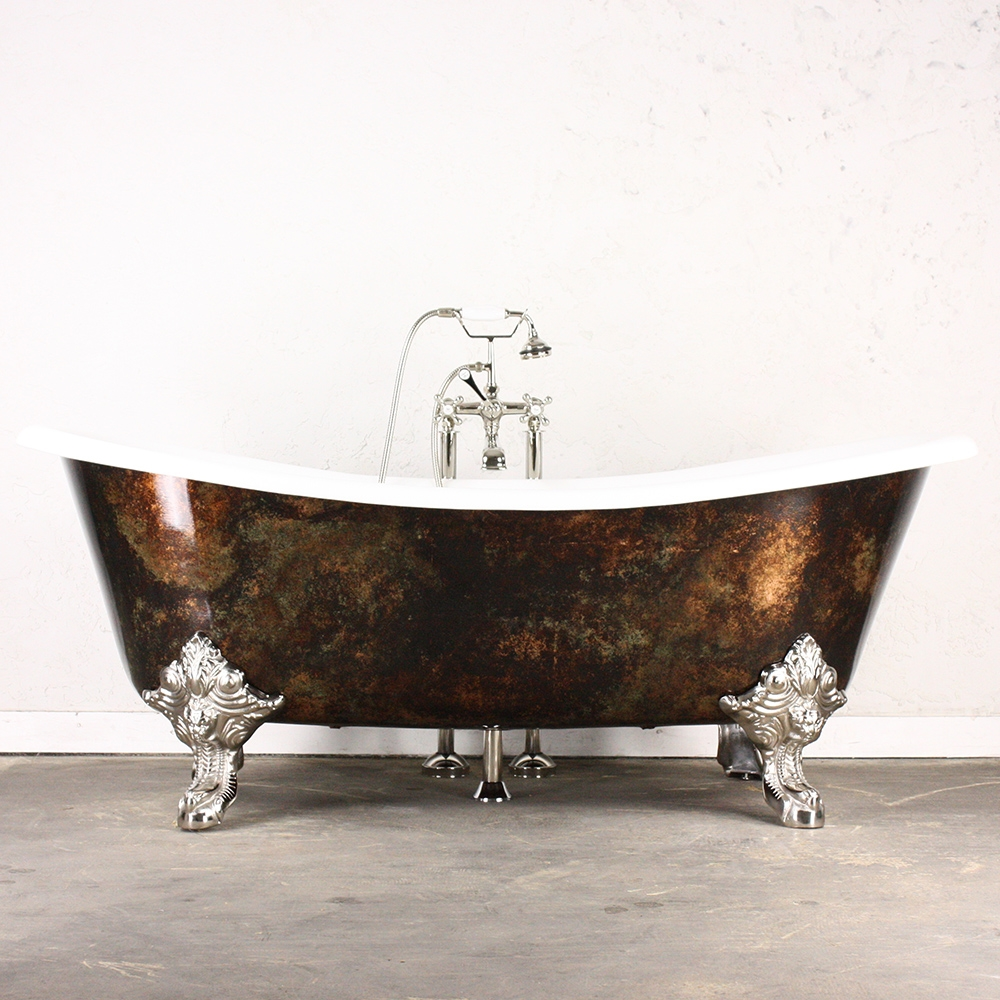 the alexander cast iron french bateau clawfoot tub with artist applied antiqued copper leafing and drain