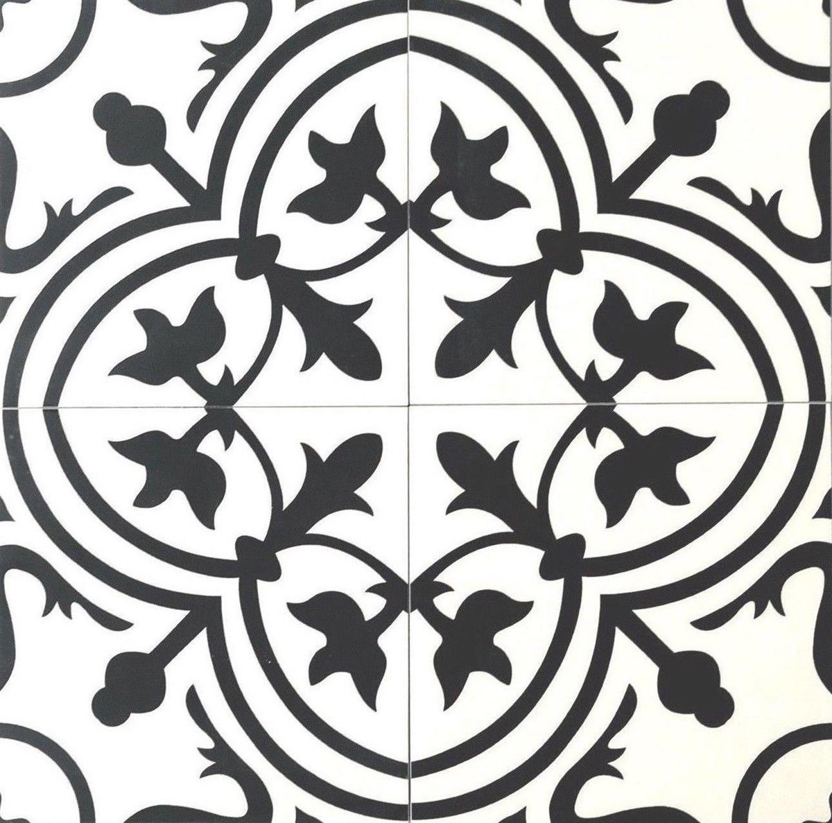8x8 flora black white porcelain floor and wall tile