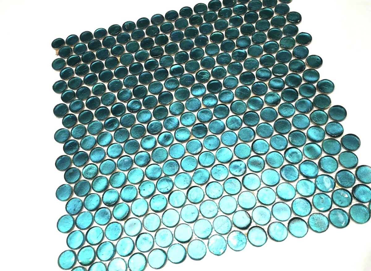 aruba turquoise shimmer penny round glass mosaic tile