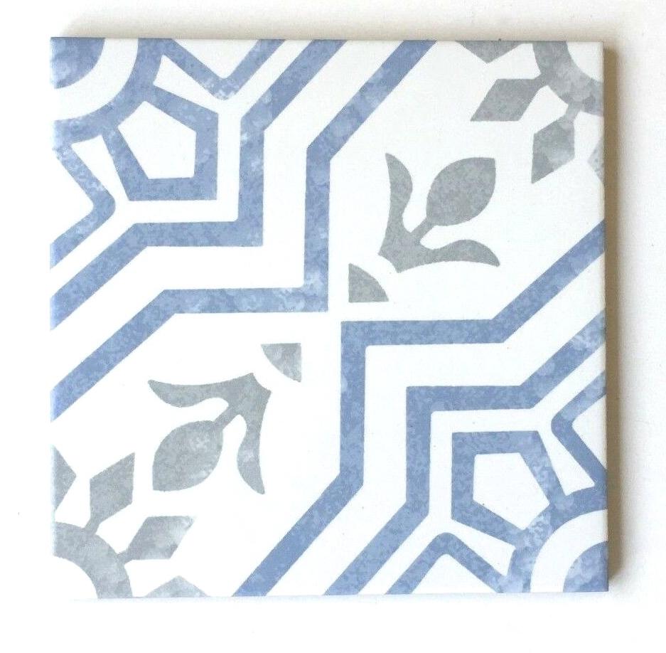 8x8 bijoux bleu porcelain pattern art deco retro modern floor tile