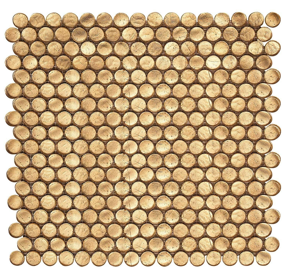gold metallic shimmer 3 4 penny round glass mosaic wall tile