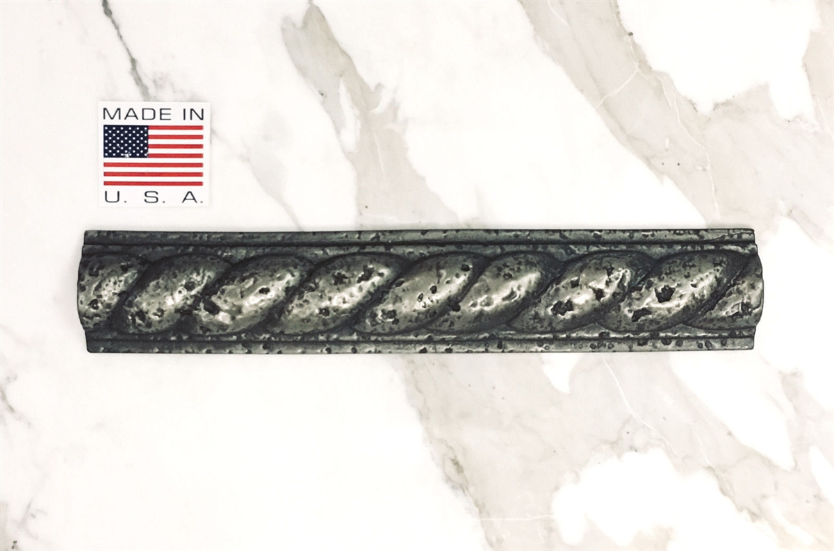 2x13 roman rope metallic silver resin decor listello border wall tile