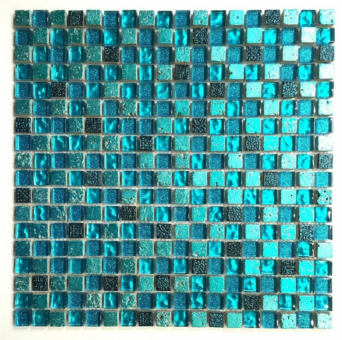 5 8 x 5 8 cadiz collection turquoise blue glass mix mosaic on mesh mount