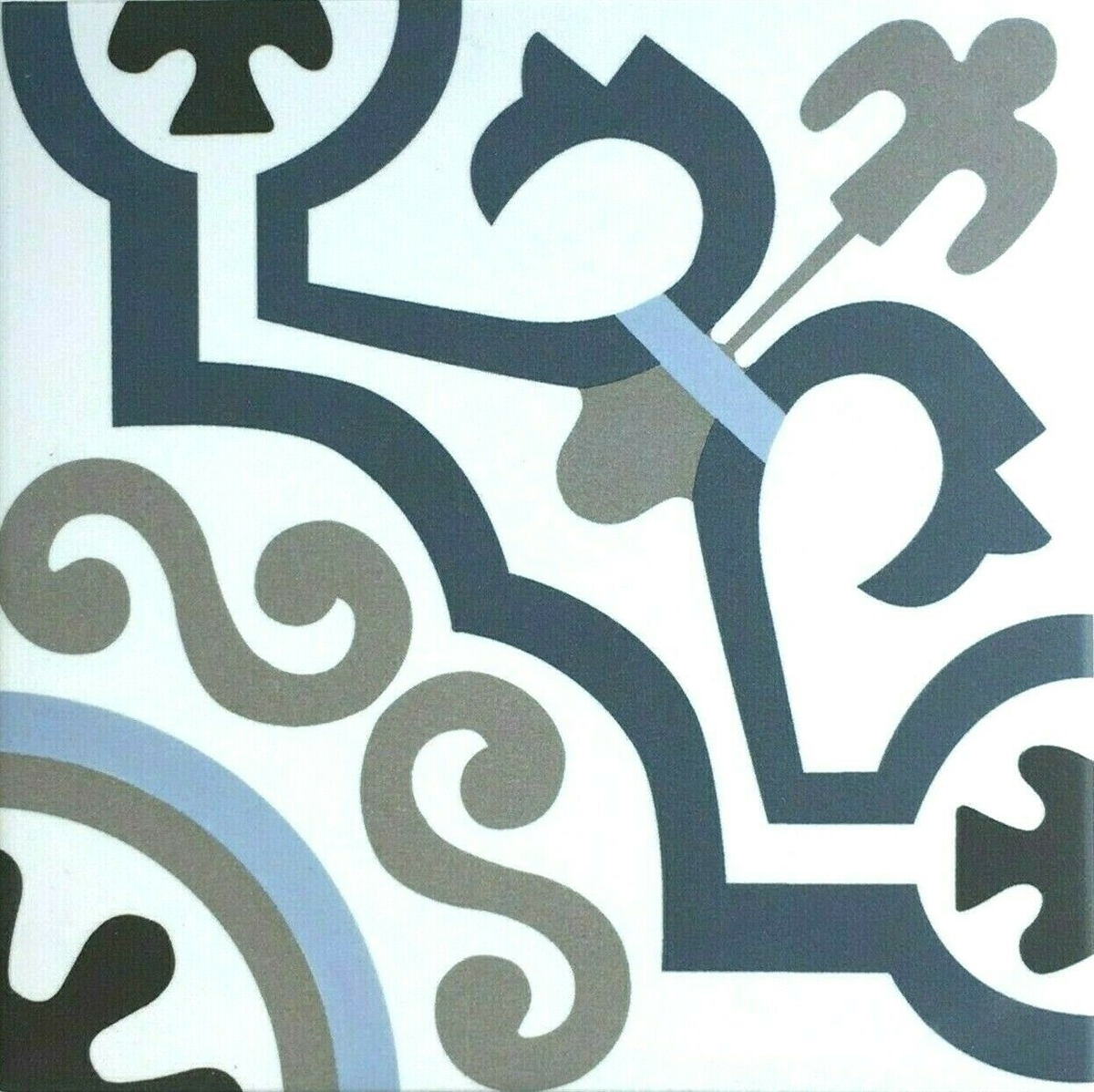 8x8 versay blue white encaustic pattern porcelain tile