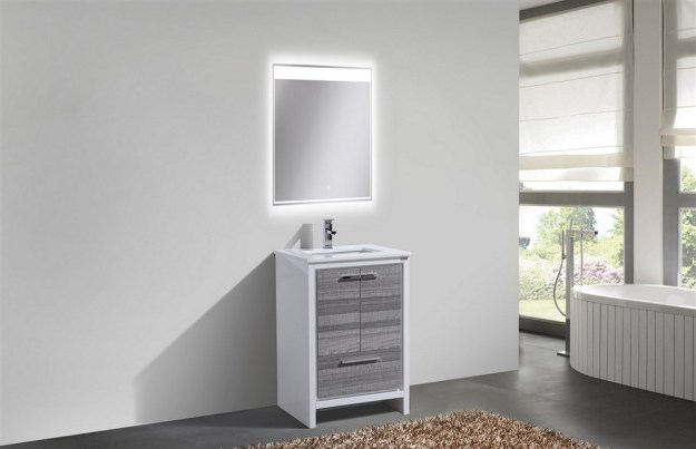 kubebath dolce 24 inch ash gray modern bathroom vanity