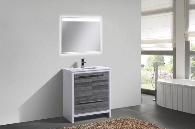 kubebath dolce 30 inch ash gray modern bathroom vanity