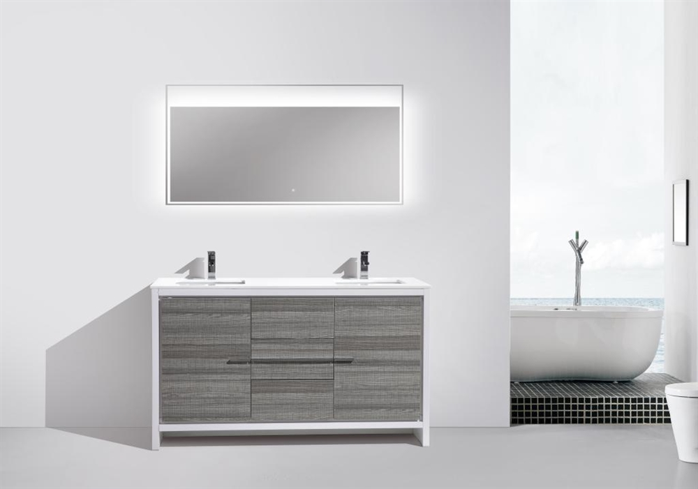 60 kubebath dolce double sink ash gray modern bathroom vanity with white quartz counter top in stock