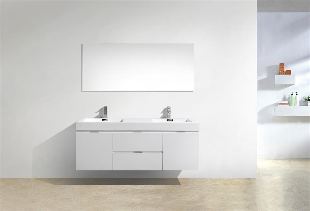 bliss 60 high gloss white wall mount double sink modern bathroom vanity in stock