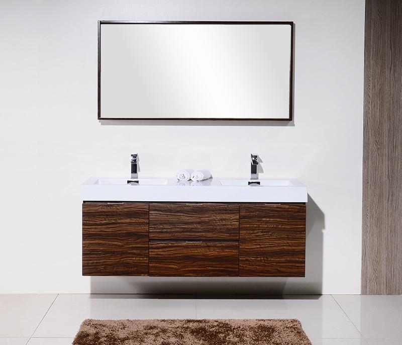 bliss 60 walnut wall mount double sink modern bathroom vanity in stock
