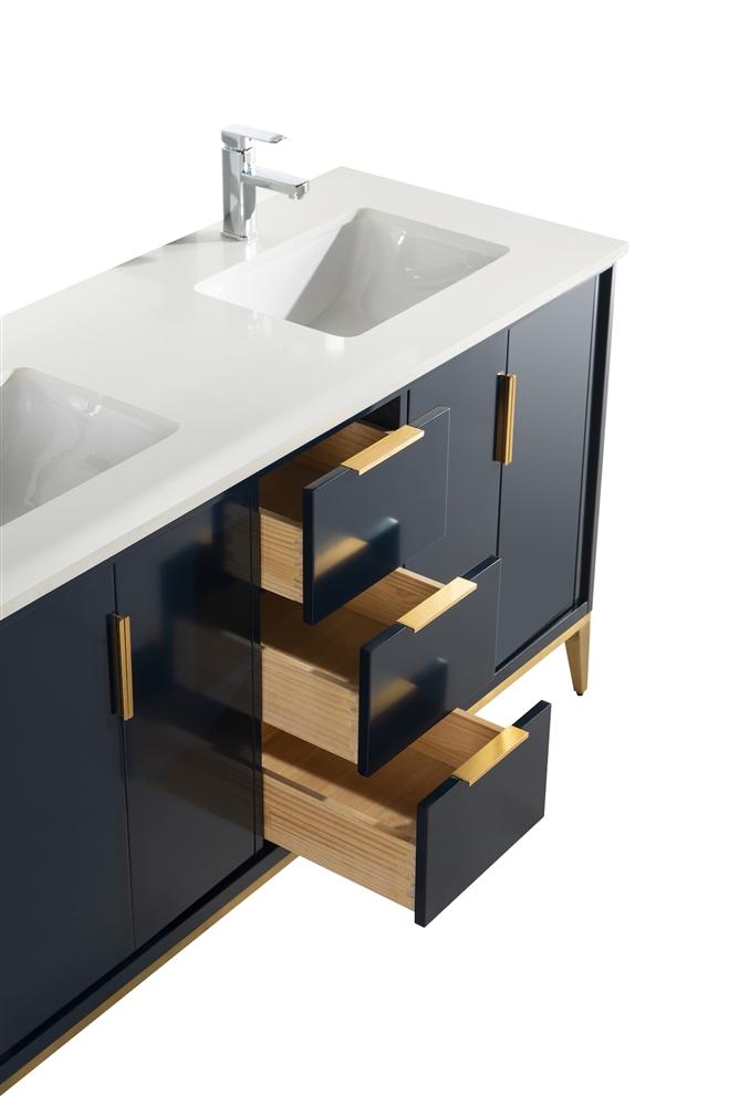 divani 60 gloss blue double sinks vanity w quartz counter top floor model final sale