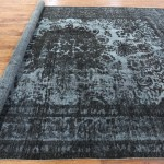 Persian Black 10x13 Overdyed Hand Knotted Tabriz Wool Area Rug H7378