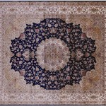 8 X 10 Navy Blue High End Persian 100 Silk Hand Knotted Area Rug