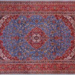New Signed Blue Persian Kashan 10 X 13 Handmade Area Rug S1405