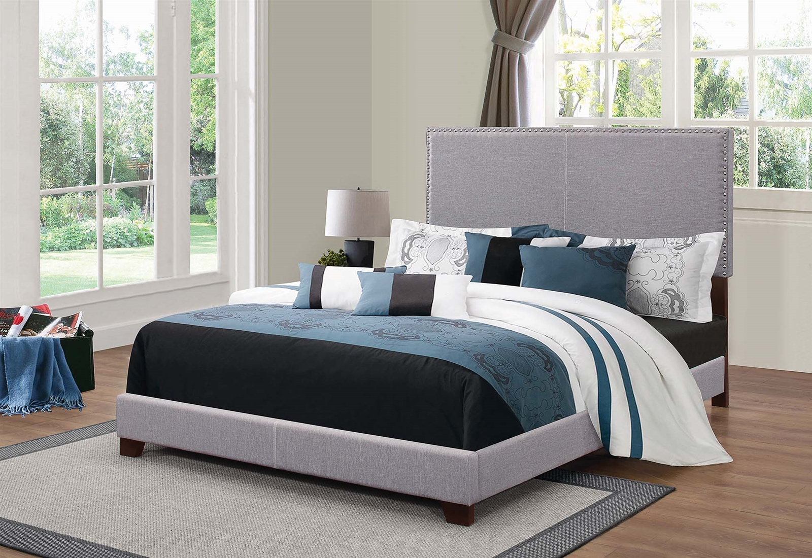 indi light grey full size upholstered bed with nailhead trim
