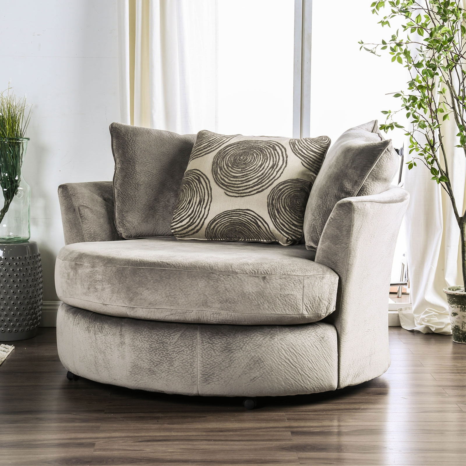 Bonaventura Ultra Plush Smoke Grey Swivel Chair
