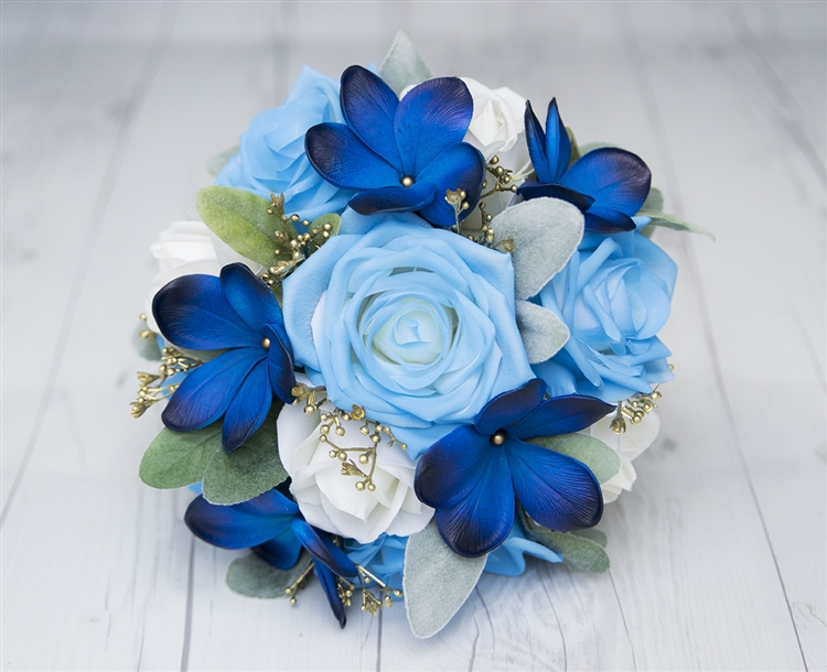 Blue Plumeria  Roses and Gold Detail Real Touch Wedding Silk Flowers     Alternative Views