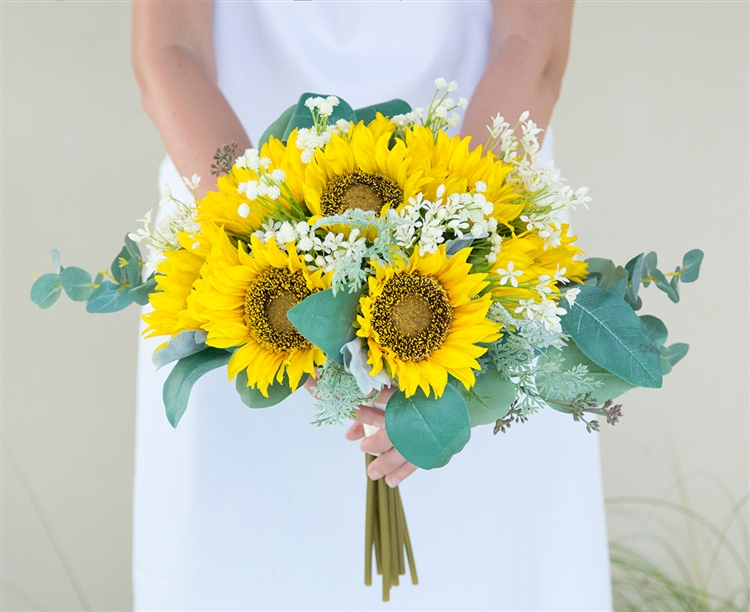Fall Rustic Chic Bouquet Made With Sunflowers, Off White