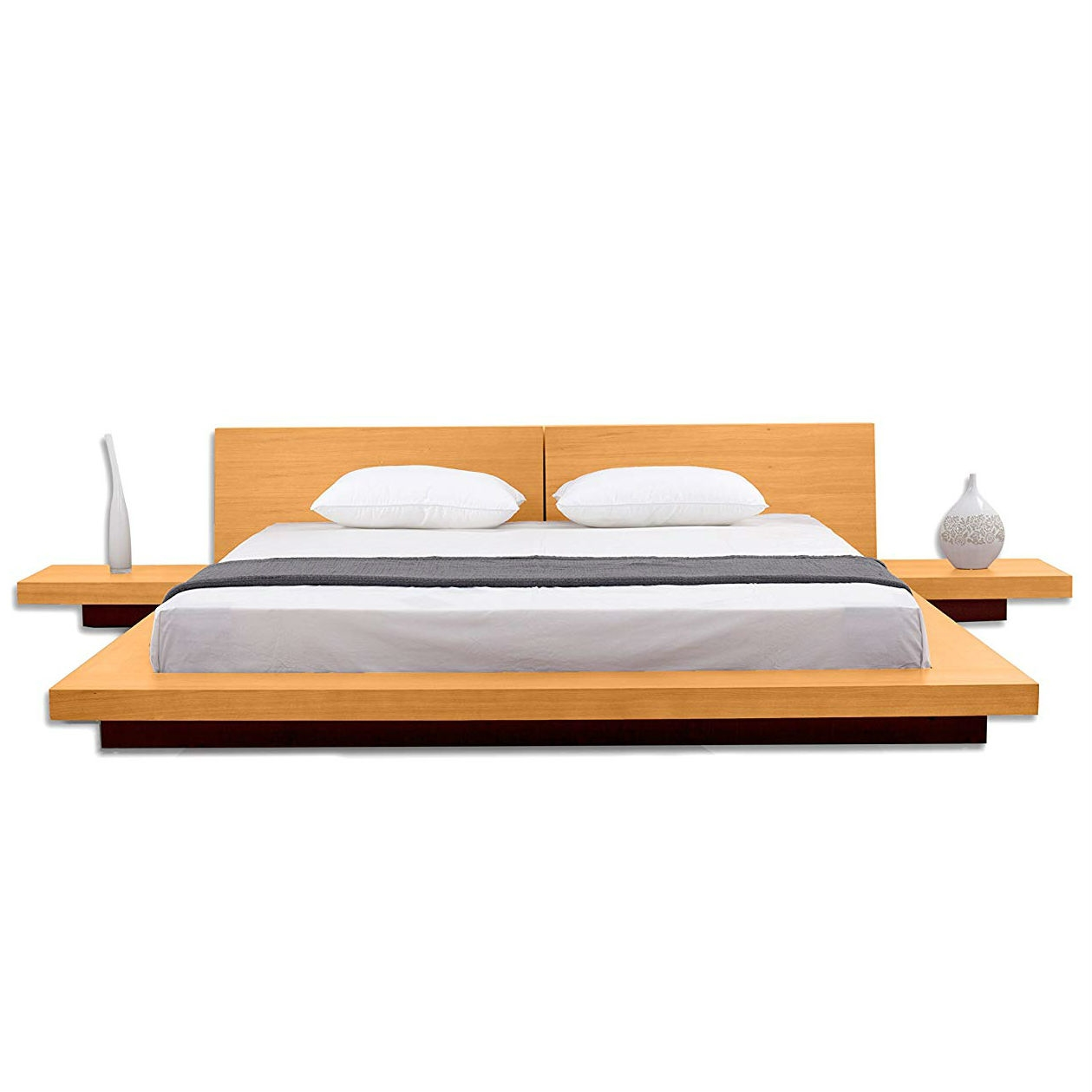 California King Size Modern Platform Bed With Headboard And 2 Nightstands In Oak Fastfurnishings Com