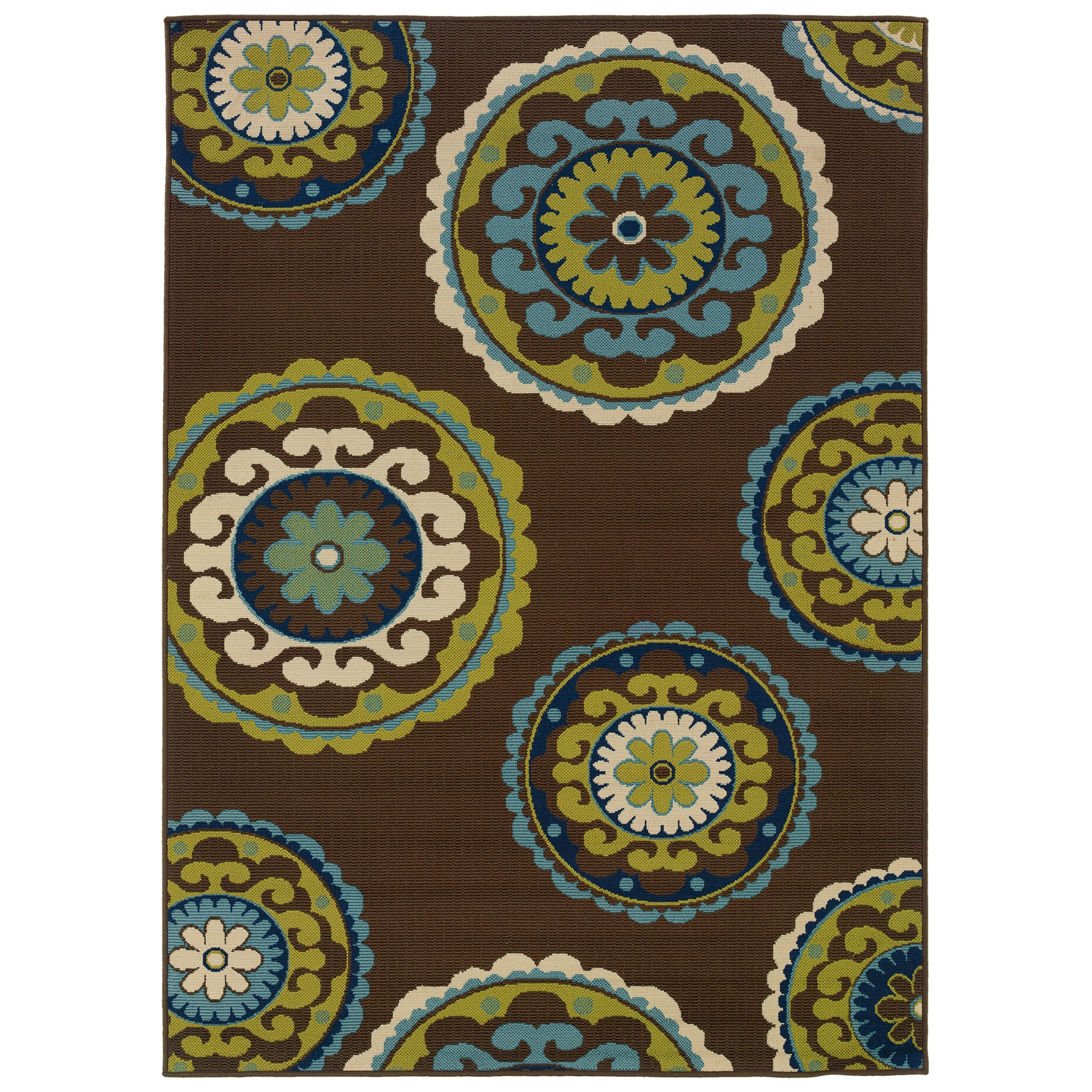7 10 x 10 10 outdoor indoor area rug in brown teal green yellow circles