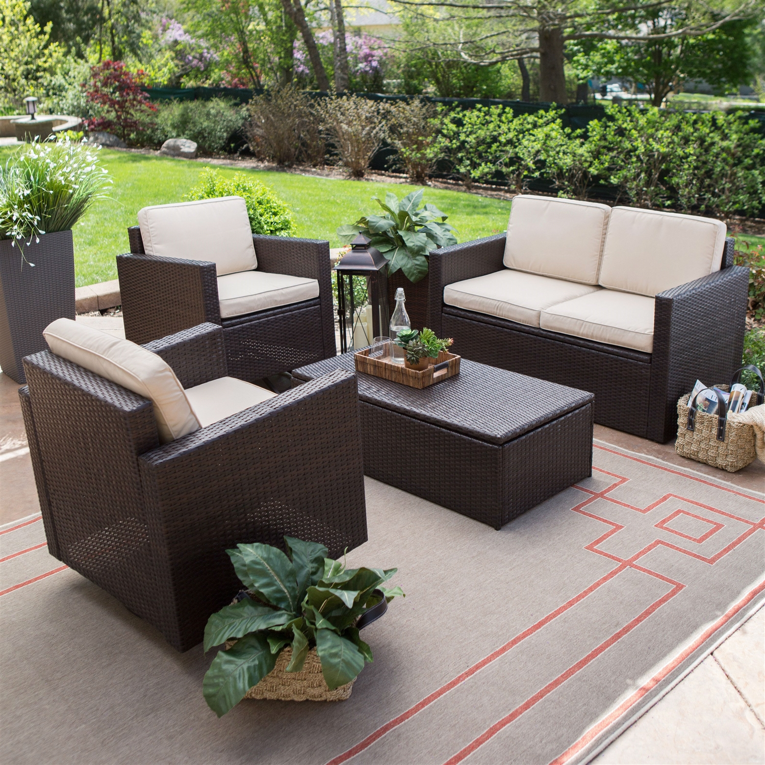 resin wicker patio furniture sets Outdoor Wicker Resin 4-Piece Patio Furniture Dinning Set