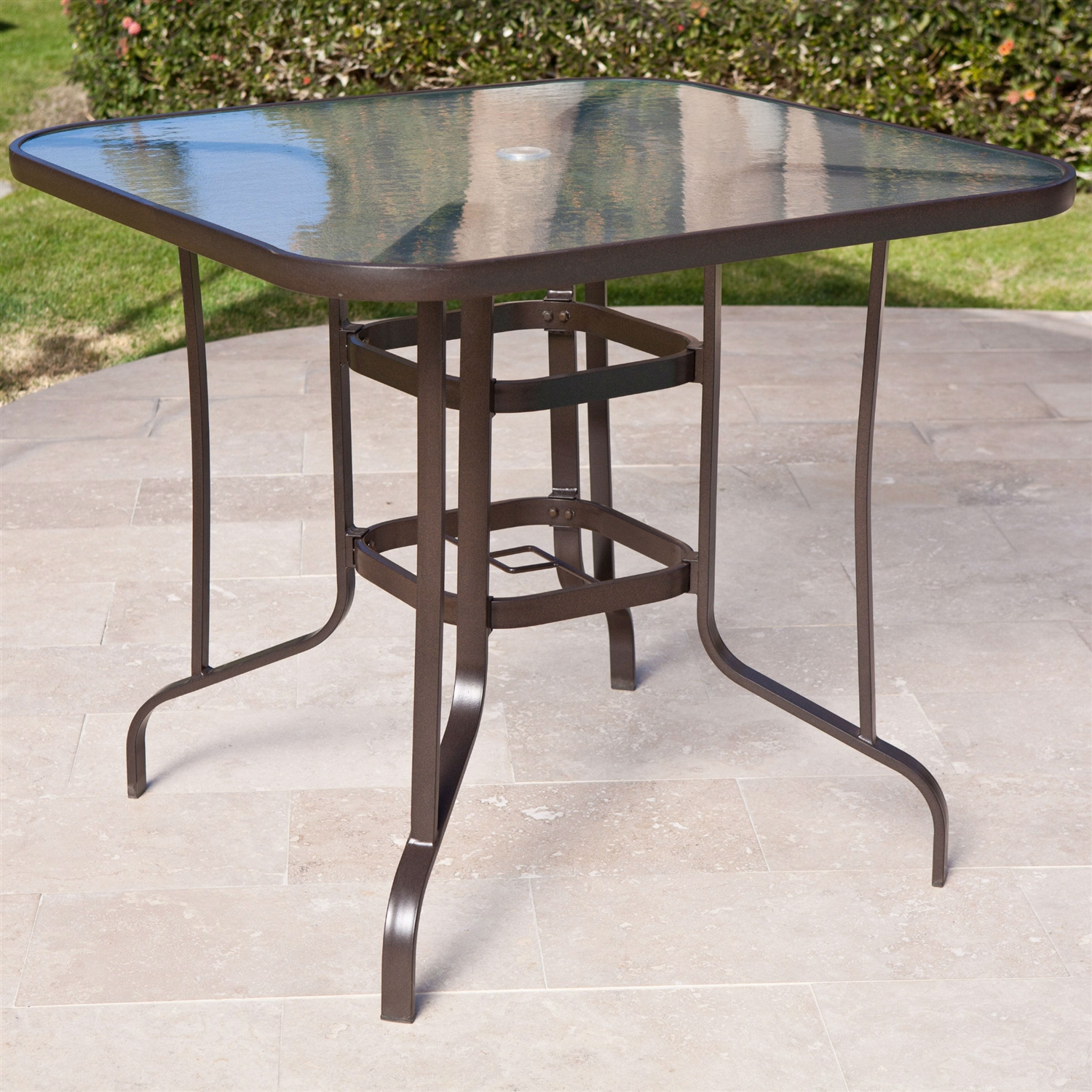 40 inch outdoor patio dining table with glass top and umbrella hole
