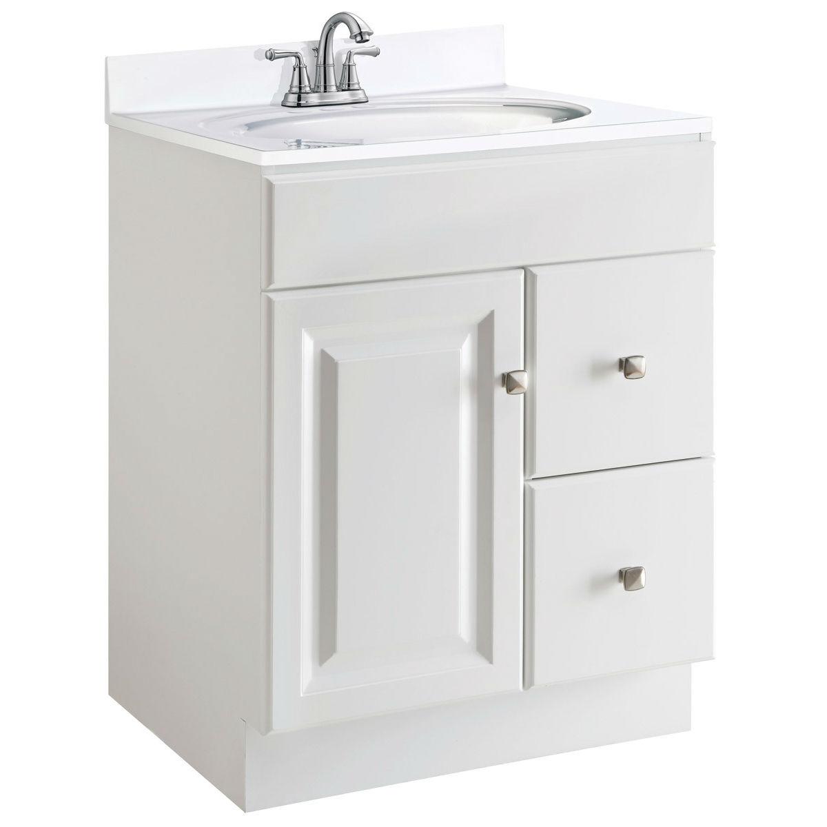 24 inch modern bathroom vanity cabinet base in white semi gloss