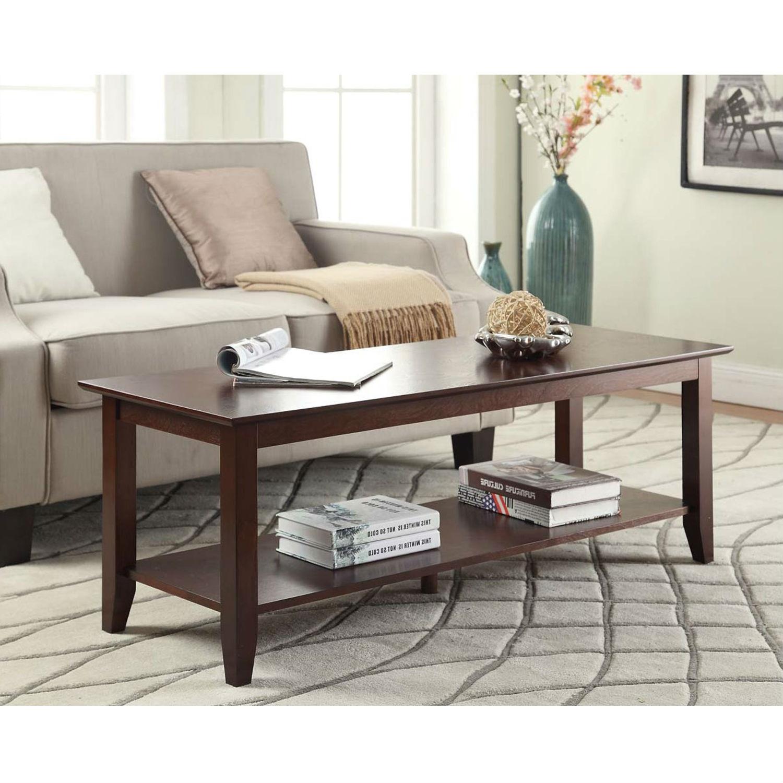 eco friendly espresso wood coffee table with bottom shelf
