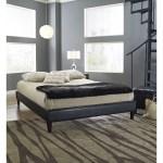 Full Size Modern Platform Bed Frame Upholstered In Black Faux Leather Fastfurnishings Com
