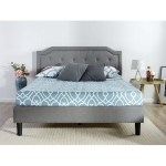 Full Size Grey Upholstered Platform Bed With Classic Button Tufted Headboard Fastfurnishings Com