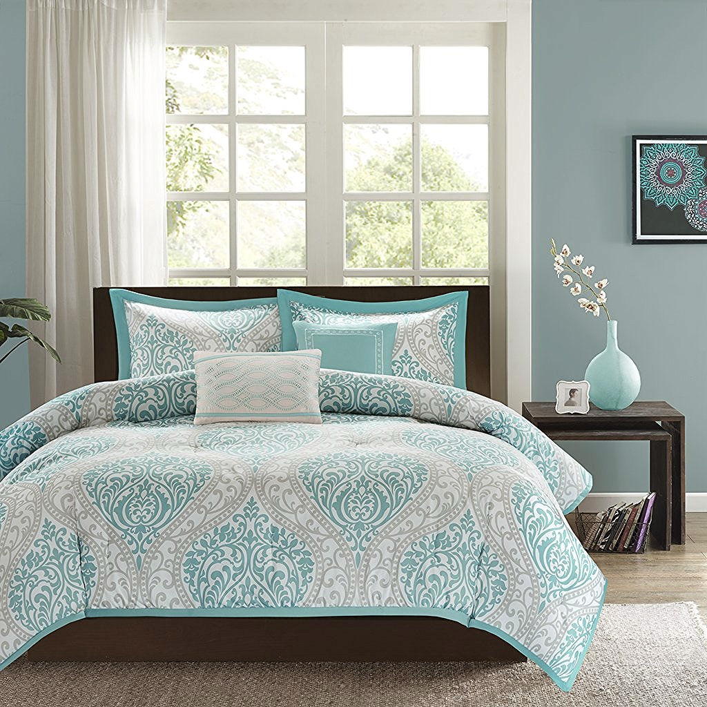 full queen size 5 piece damask comforter set in light blue white and grey