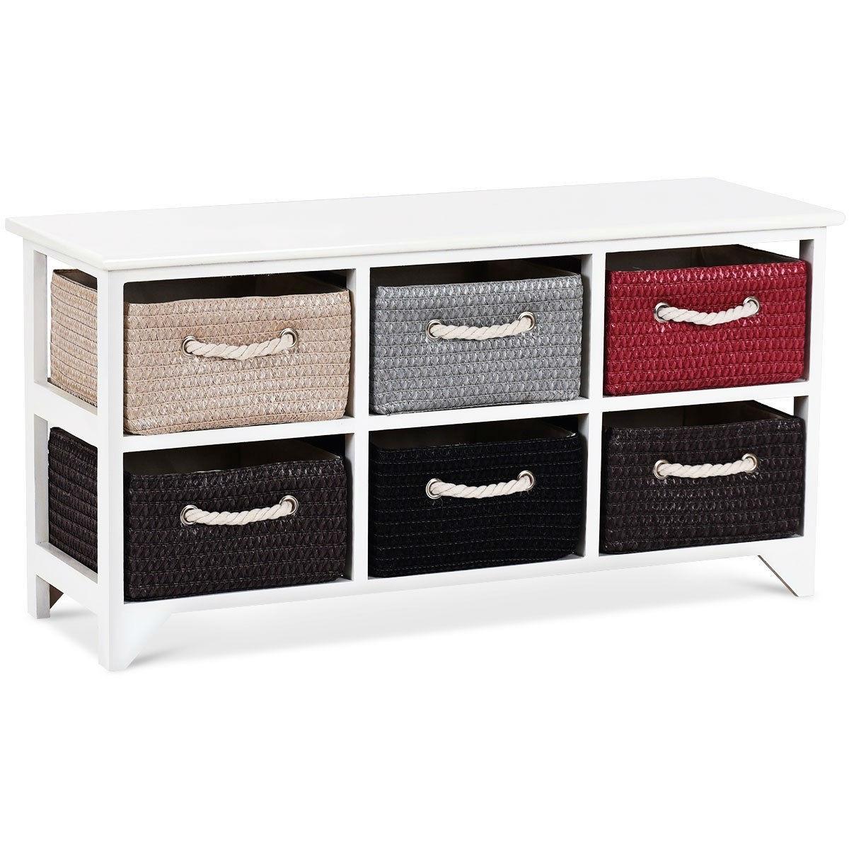 2 tier white wooden chest dresser with 6 rattan wicker baskets drawers