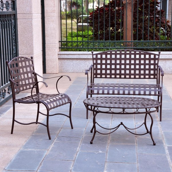 3 Piece Wrought Iron Patio Furniture Lounge Seating Group Set     3 Piece Wrought Iron Patio Furniture Lounge Seating Group Set