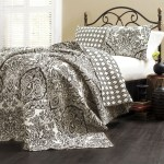 King Size 3 Piece Cotton Quilt Set In Black White Damask Fastfurnishings Com