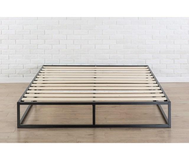 King Size Modern 10 Inch Low Profile Metal Platform Bed Frame With Wood Slats Fastfurnishings Com