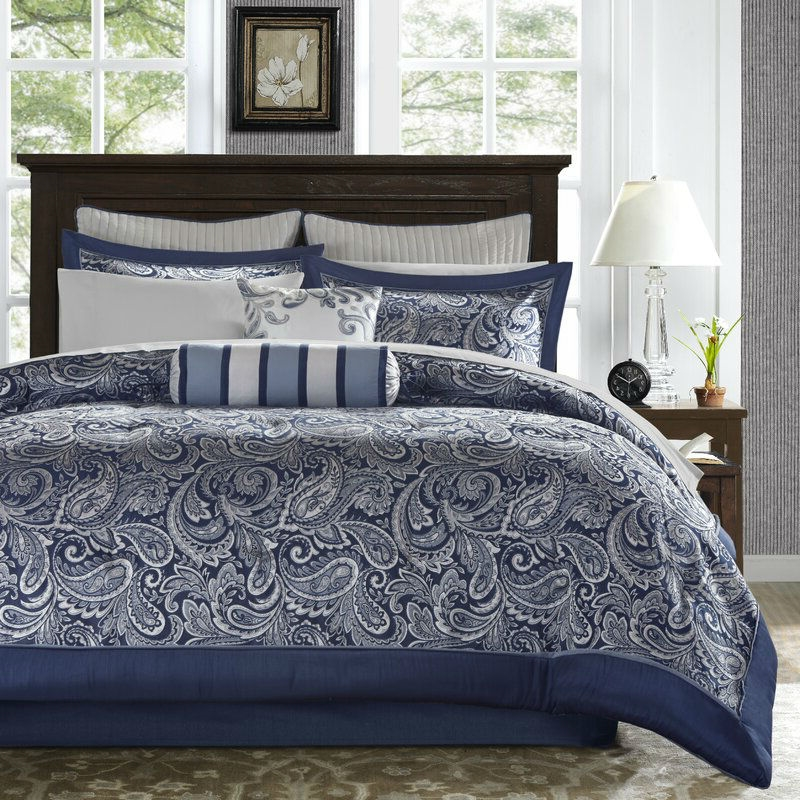 king size 12 piece reversible cotton comforter set in navy blue and white