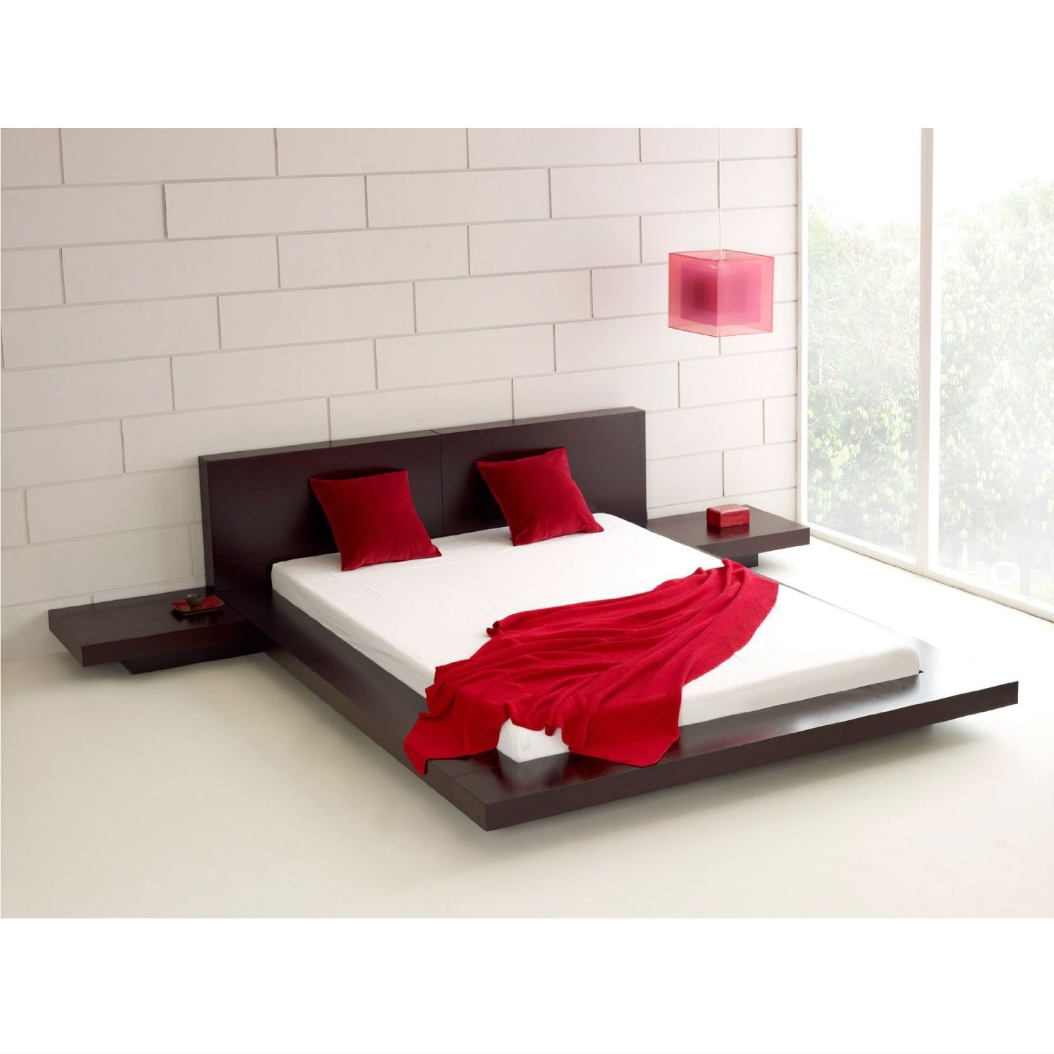 Queen Modern Platform Bed W Headboard And 2 Nightstands In Espresso Fastfurnishings Com