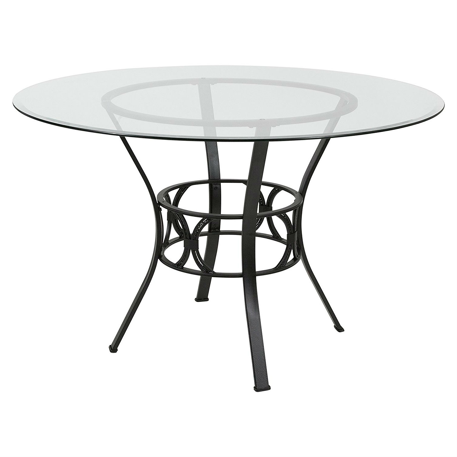 round 48 inch clear glass dining table with black metal frame