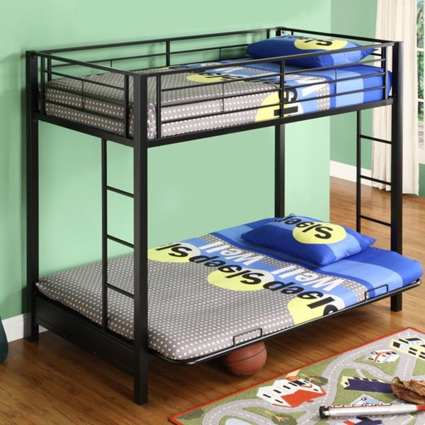 Black Metal Twin Over Full Size Futon Bunk Bed Frame