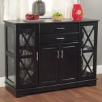 Black Wood Buffet Dining Room Sideboard With Glass Doors Fastfurnishings Com