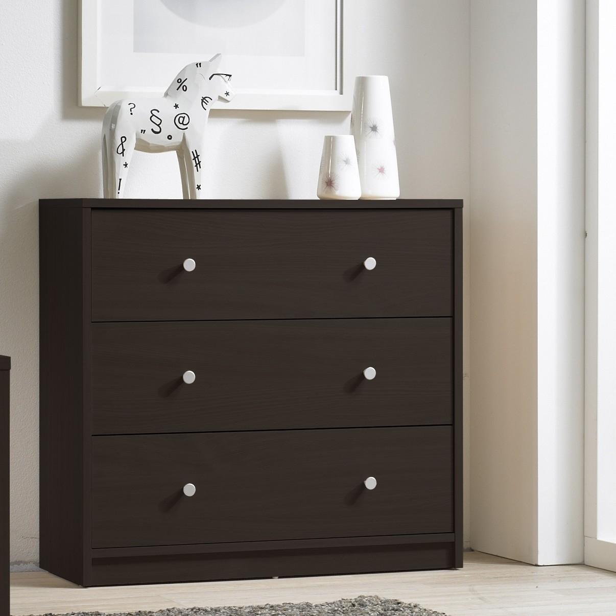 modern 3-drawer chest bedroom bureau in dark brown wood finish