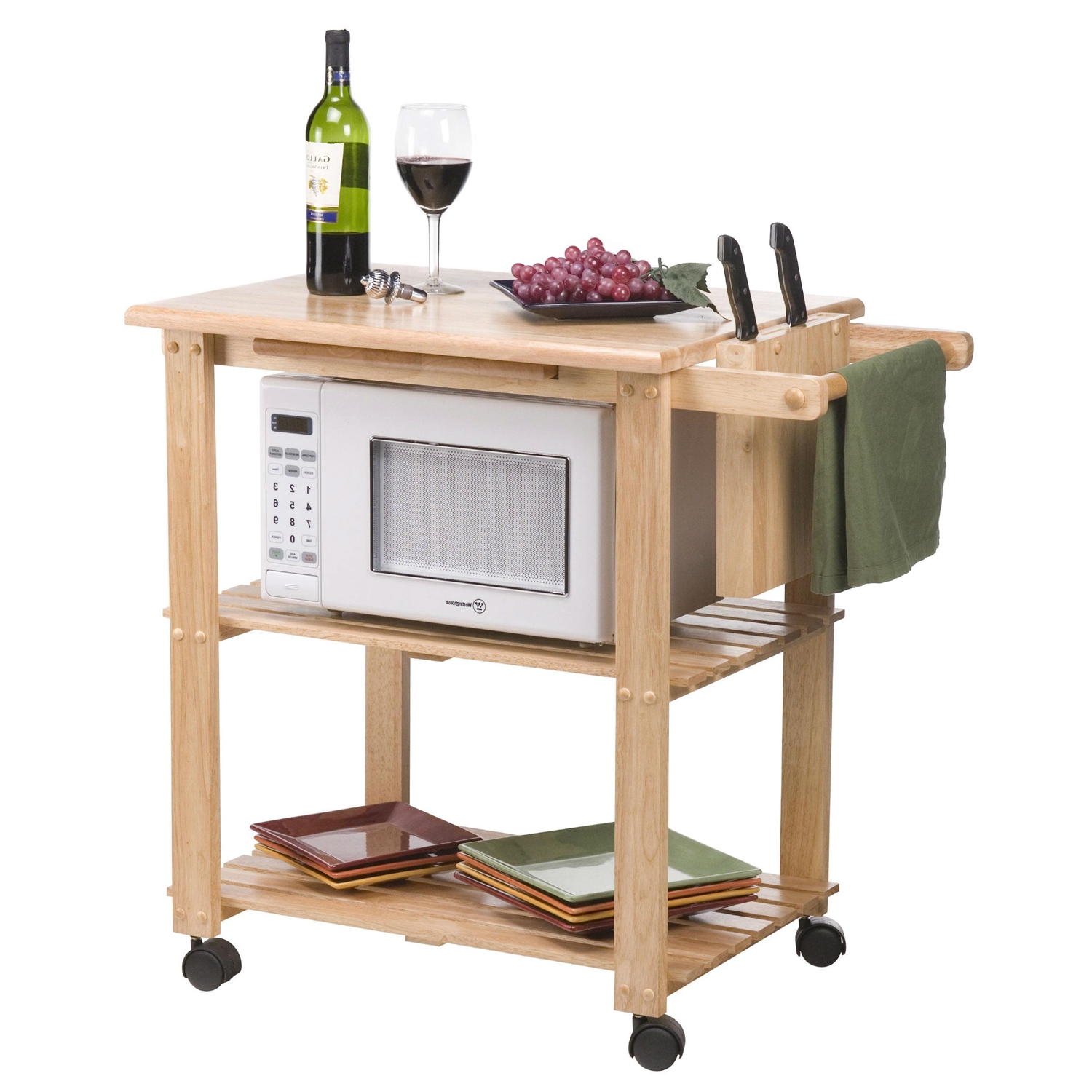 solid wood kitchen utility microwave cart with pull out cutting board