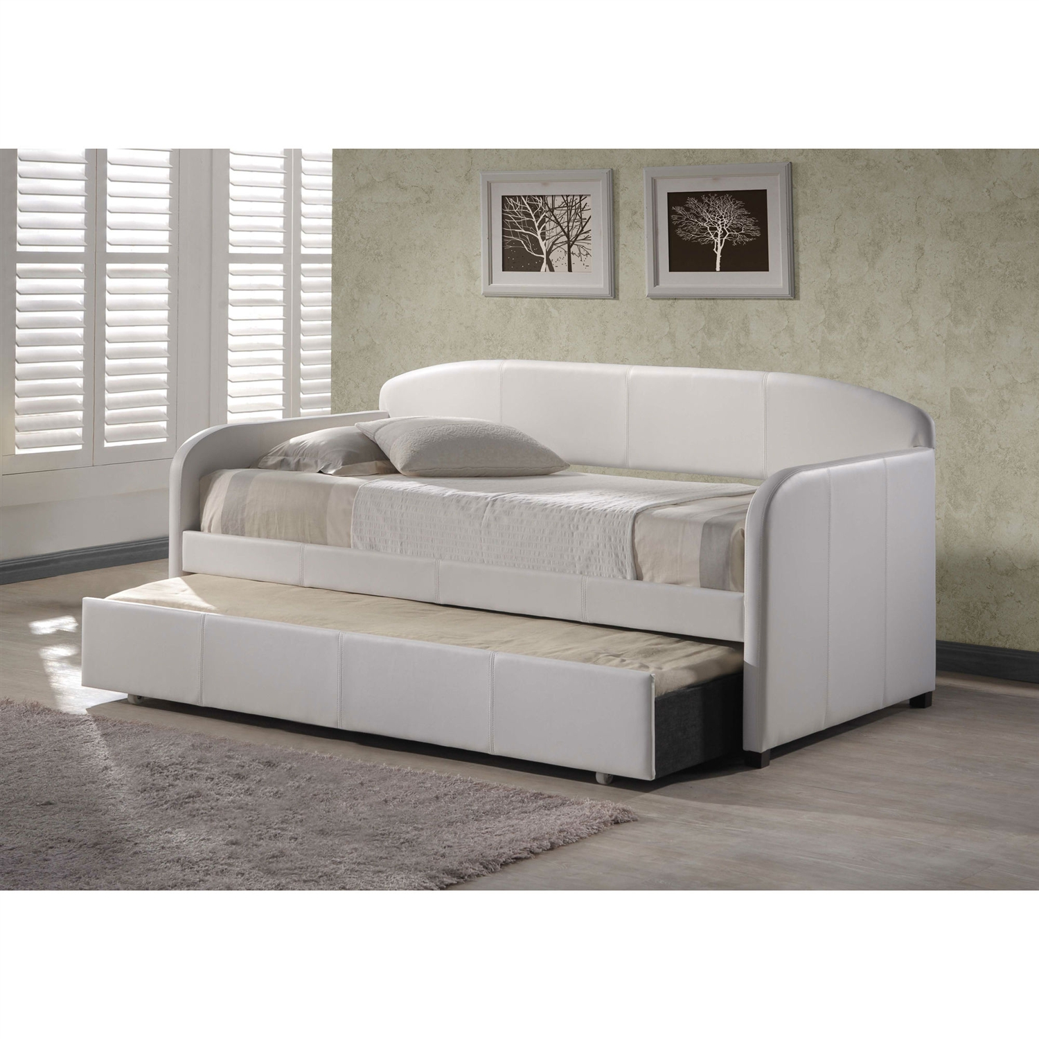 Twin Modern White Faux Leather Daybed With Roll Out Trundle Fastfurnishings Com