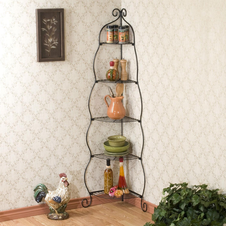 corner bakers rack 5 tier shelves with decorative metal scrollwork