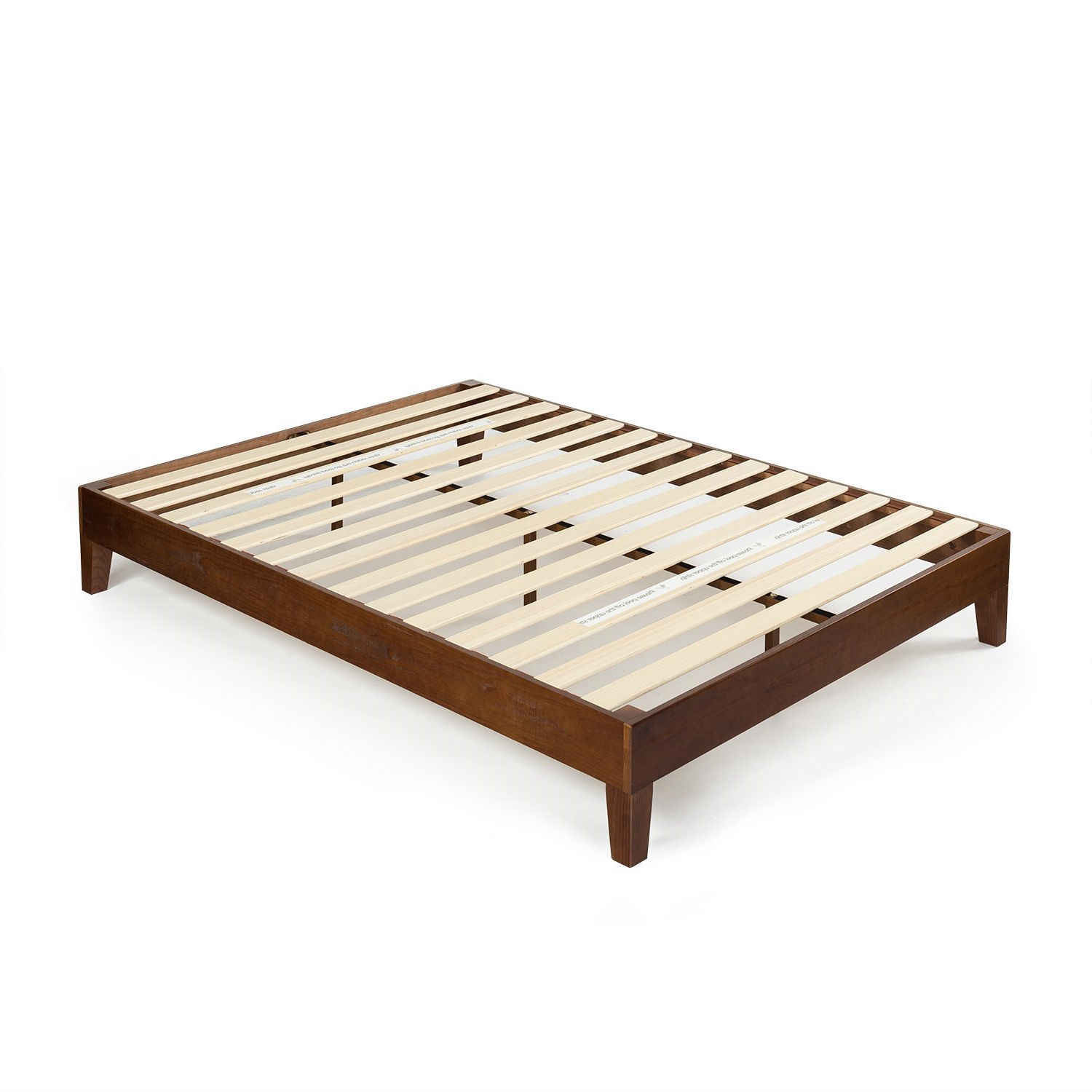 Full Size Low Profile Solid Wood Platform Bed Frame In Espresso Finish Fastfurnishings Com
