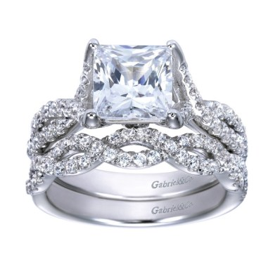 Platinum Princess Cut Diamond Criss Cross Engagement Ring